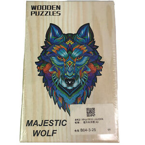 Majestic Wolf Wooden Jigsaw Puzzle Mosaic Vibrant Color Gift New
