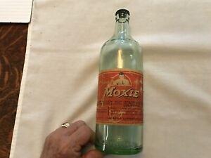 MOXIE paper Label 1 Pint 10 Ounces Vintage Soda Bottle