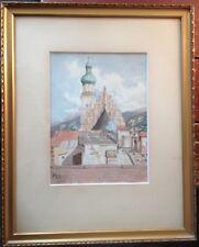 Vista Città ma dove ?? 1909 Chiesa Mercato Acquerello ° Baviera??Märchenwolle