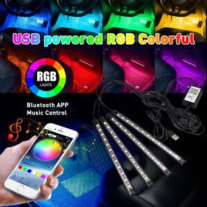4x Car Interior Footwell RGB Bluetooth Phone LED Light Strip USB APP control