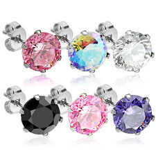 Pair of 316L Surgical Steel Colors Round CZ Stud Earring 3mm -10mm