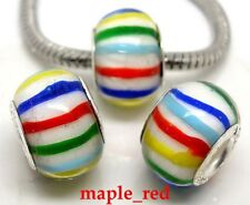 Fashion Colorful Striped Lampwork Glass Hole Beads Fit European Charm Bracelet