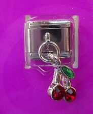 2cd Red Dangle crystal cherry Italian LINK bracelet charm claire's
