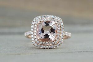 2ct Cushion Cut Peach Morganite Double Halo Engagement Ring 14k Rose Gold Over