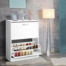24 Pairs Stylish 2 Door Shoe Cabinet Home Storage Rack Cupboard Shoes