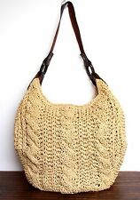GAP BRAIDED PAPER STRAW BROWN LEATHER HOBO SHOULDER BAG HANDBAG BOHO PURSE TOTE