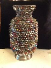 "Lovable Decorative Mesh Woven Metal 12""  Vase By Bombay Company With Glass Beads"