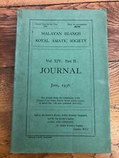 malayan branch royal asiatic society . vol. x1v part 11 june 1936 . scarce copy