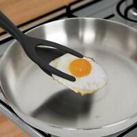 HOT 2 In 1 Grab Flip Fried Turner Spatula Tongs Clamp Egg Pancake Fried J5Y3