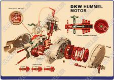 DKW Hummel Motor Schnittzeichnung Explosionszeichnung Moped Poster Plakat Schild