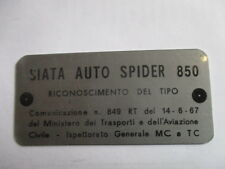 Nameplate Fiat Sign Plate Siata Spider 850 s37