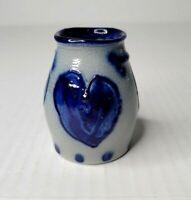 """Eldreth Pottery Cobalt Blue Salt Glaze Mini 3"""" Crock Vase w/ Hearts Signed 2001"""