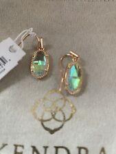 New Kendra Scott Lee Rose Gold Drop Earrings In Dichroic Glass $60