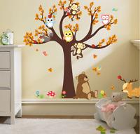 Owls Monkey Tree Wall Sticker Jungle Safari Animal Kids Decal Baby Nursery  UK