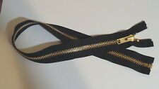 26 inch Black & Brass #10 YKK Heavy Duty Separating Zipper New!