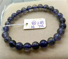 Natural Iolite Cordierite Gemstone Clear Round Beads Bracelet 7mm