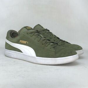 Puma Mens Smash V2 364989-41 Olive White Suede Training Shoes Lace Up Size 14