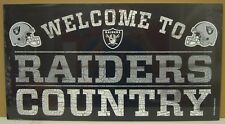 """OAKLAND RAIDERS WELCOME TO RAIDERS COUNTRY WOOD SIGN 13""""X24'' NEW WINCRAFT"""