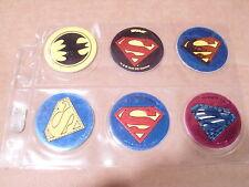 POGS SUPERMAN (5) and BATMAN(1) EMBLEMS, LOGOS? DC COMICS