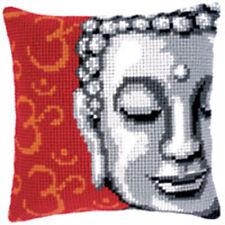 "Buddha PESANTE Cross Stitch Cuscino ANTERIORE KIT 16x16"" Arazzo Tela 4.5hpi"