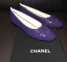 $825 CHANEL CC Classic Bow Violet Purple Patent Leather Ballet Ballerina Flats