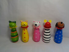 """5 Piece wood / Wooden Animal Figure Bowling Pins 4"""" H"""