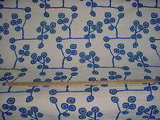1-1/4Y LAURA AND KIRAN TWIGGY NAVY BOHEMIAN FLORAL DRAPERY UPHOLSTERY FABRIC