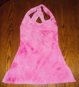 Balera PINK Tie Dye Dance Skating Costume Tunic Top Twist Strap Open Low Back SA