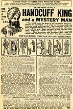 1950 small Print Ad of Handcuff King & Mystery Man Magic Tricks