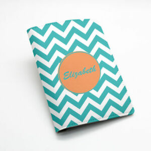 Personalised gift custom name chevron zigzag faux Leather Passport case green