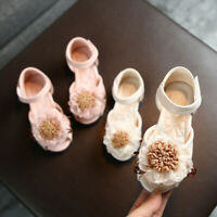 Toddler Infant Kids Baby Girls Lace Floral Party Princess Leather Shoes Sandals