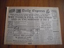 WW2 WARTIME NEWSPAPER - DAILY EXPRESS - JUNE 22nd 1942