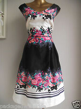 MONSOON ANGELICA PROM 50's DRESS IVORY BLACK PINK BLUE FLORAL WEDDING DRESS 20