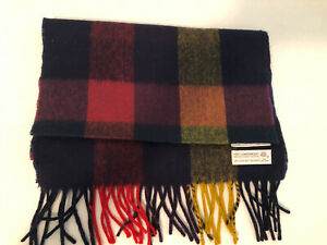 Christian Dior Escarpes Plaid Lambswool Scarf Dark Blue Green Red Great Britain