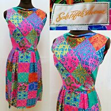 Vintage 50's SAKS FIFTH AVENUE SILK PATCHWORK PRINT DRESS - Size XS - EUC