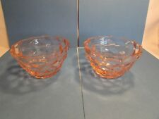 TWO Jeanette PINK Cube Cubist Glass Cereal Berry Dessert Depression Bowls 4.25""