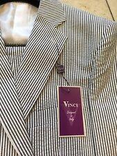 NWT VINCI Modern Fit 100% Cotton Black/White Seersucker 2BT Men Suit Size 52L