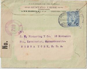 1918 MEXICO 10C MADERO ON CENSORED COVER FROM ORIZABA TO US.REVERSE ALAMEDA