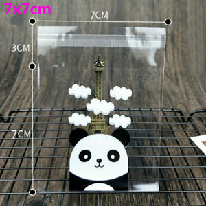 100pcs Panda Self-adhesive Bags Plastic Candy Cookie Gift Package Cellophane