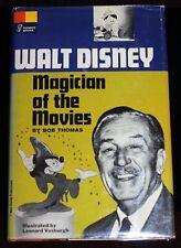 Walt Disney Magician of the Movies SIGNED Bob Thomas Book 1966 Hardcover w/ DJ
