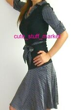 bebe POLKA DOT SHIRT DETAIL SWEATER DRESS BELT GREY STONE BLACK XS EXTRA SMALL