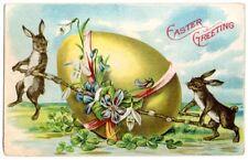 AK, OSTERN, Osterhasen und ein großes Osterei - prägekarte - 1910 - U.S.A