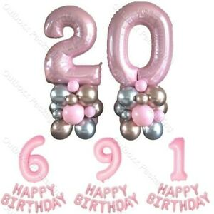 """40"""" Pink Foil Number Balloons 1st/16/18/21st/30/40/50 Happy Birthday Party Decor"""