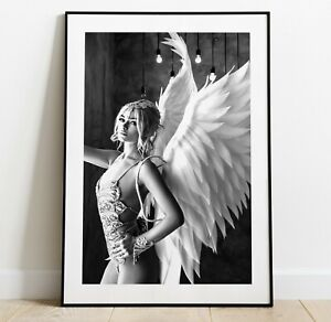 Girl with Wings Print, Home Decor Wall Art, Angel wings Art Poster
