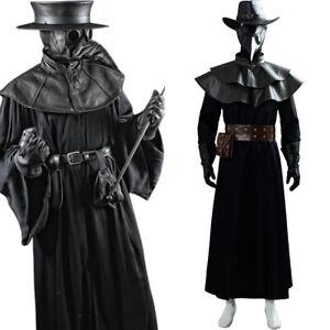 Plague Doctor Steampunk Brird Mask Cape Long Grown Holloween Hat Set Costume