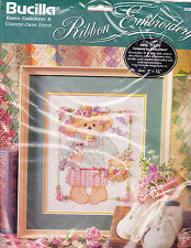 Counted Cross Stitch Kit:  Mrs Teddy Ribbon Embroidery 9 x 12