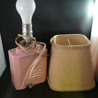 Vintage 1960's Retro Pink Glazed Ceramic Electric Lamp 6.5""
