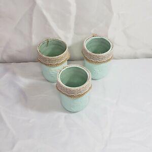 Shabby chic handpainted widemouth mason jars , set of 3