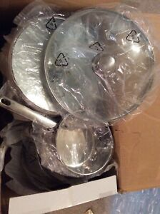 Stainless Steel Pots + Pans. 13 Piece Pan Set. NEW. Glass Lids. Frying Pan. V64