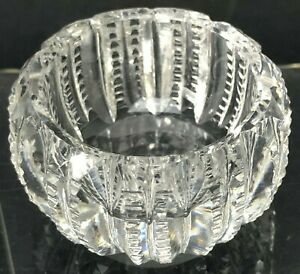 Salt Cellar Dip Cut Crystal Vintage Antique Open Dish Zipper Sides Round Squaty